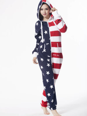 Nordic way USA women onesie red printed
