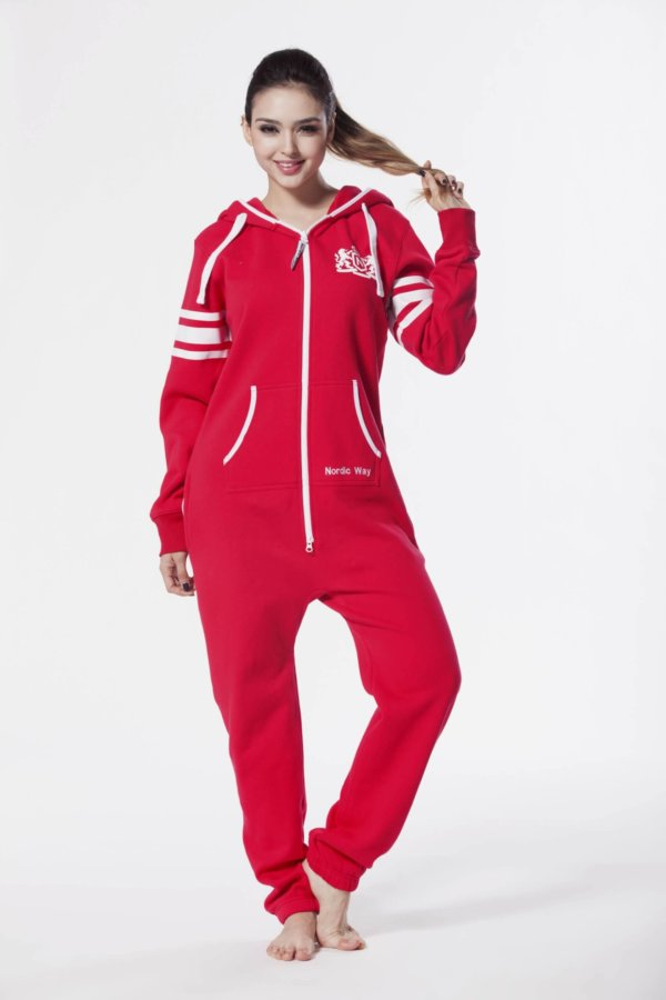 Nordic way College Red women onesie red printed