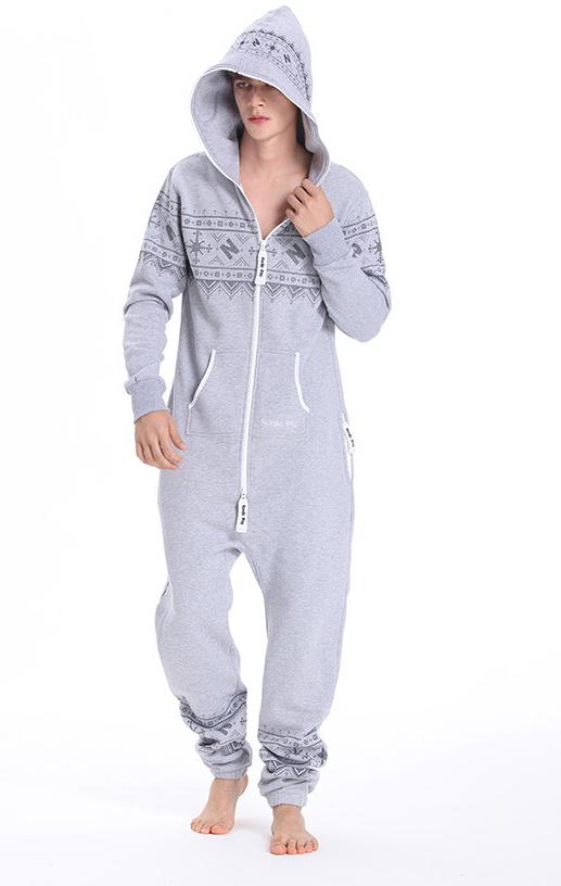 Комбинезон мужской Winter Printed серый M0103 обр