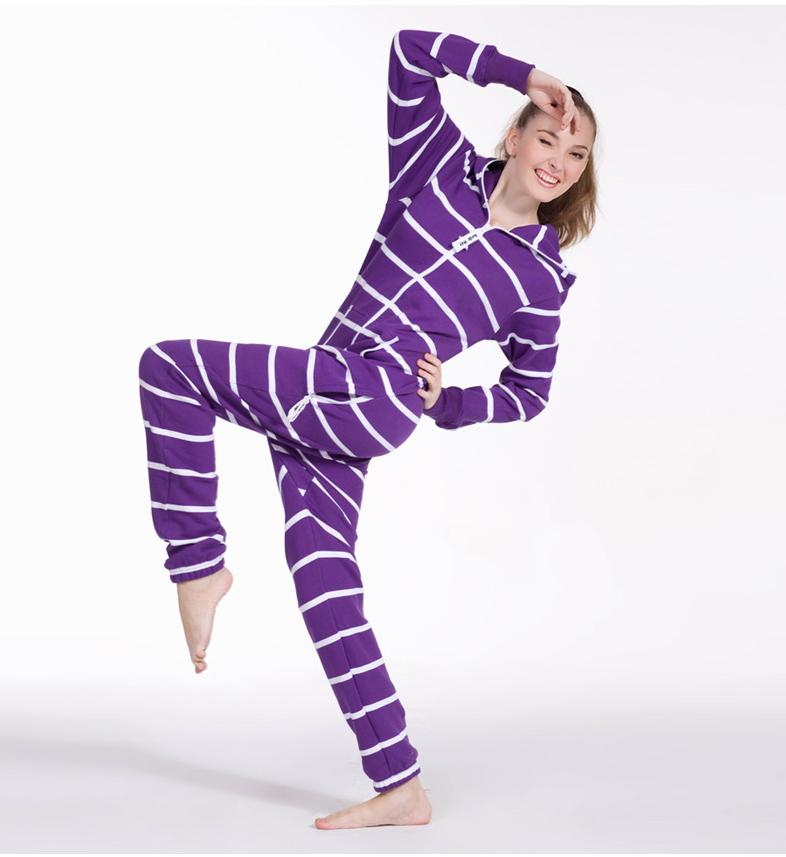 Полосатый комбинезон белый+фиолетовый W1606