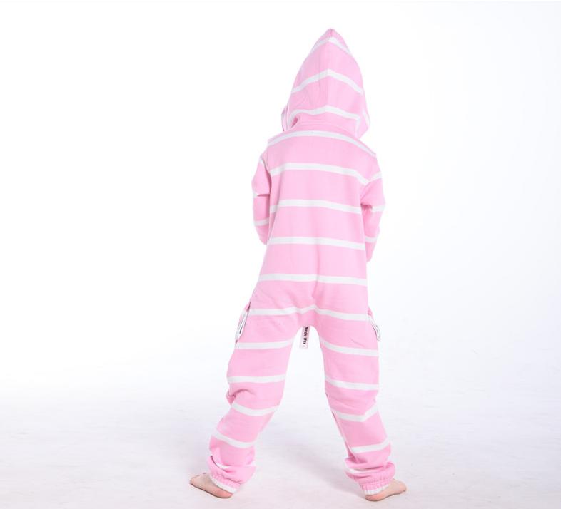 Полосатый комбинезон белый+розовый K1603 3